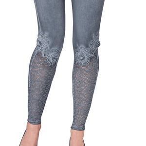 Lace - Appliqué leggings look like Johnny was